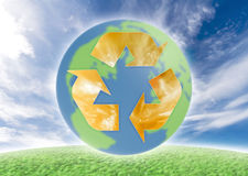 Ecology symbol over earth. Concept of ecology issues concerning the whole world, earth. Global Stock Image