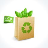 Ecology symbol paper bag Stock Image