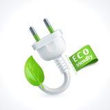 Ecology symbol plug. Ecology and waste plug symbol with eco friendly tag isolated on white background vector illustration Royalty Free Stock Photo