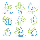 Ecology symbol set. Eco-icons Stock Photos