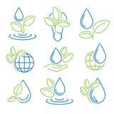 Ecology symbol set. Eco-icons. Vector royalty free illustration