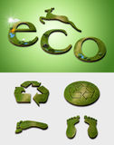 Ecology symbols. Symbols related with ecology and environment, recycling, carboon footprint Stock Image