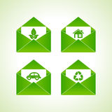 Ecology symbols with envelope Royalty Free Stock Photos