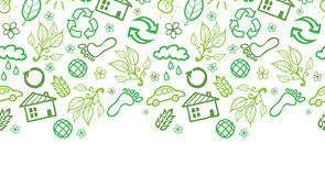 Ecology symbols horizontal seamless pattern Royalty Free Stock Photo