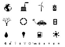 Ecology symbols icon set silhouettes Royalty Free Stock Photography