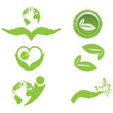 Ecology symbols and logo Royalty Free Stock Image