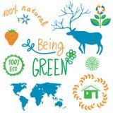 Ecology symbols and nature elements set Stock Photos