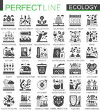 Ecology technology classic black mini concept symbols. Eco renewable energy modern icon pictogram vector illustrations Stock Photos