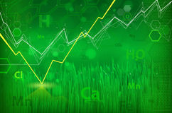 Ecology technology concept - chemical formulas, green abstract b Stock Photos