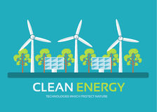 Ecology technology in flat design background concept. Eco clean energy around green tree for protect nature. Icons for Stock Image