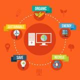 Ecology and technology flat design concept illustration Stock Image