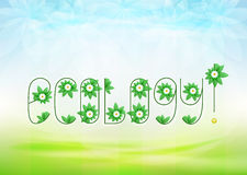 Ecology text message with green leaves and daisy blossoms on green landscape Royalty Free Stock Photography