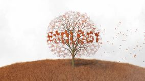 Ecology text on the tree, falling leaves stock footage