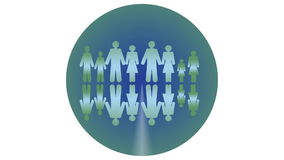 Ecology theme, animated intro with people, inscription Think green, video designed in dark blue and green, circle composition. With man, woman and children vector illustration