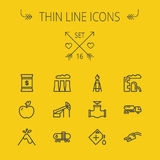 Ecology thin line icon set. For web and mobile. Set includes- gas tank, truck, nozzle, container, pipe, valve, volcano, candle, factory, apple icons. Modern stock illustration