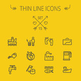 Ecology thin line icon set Stock Images