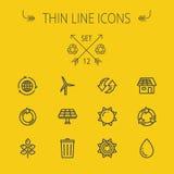 Ecology thin line icon set Stock Photo