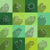 Ecology thin line icons. Ecology thin line flat icons with long shadow. Vector illustration vector illustration
