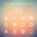 Ecology thin line icons Royalty Free Stock Images