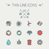 Ecology thin line icons Royalty Free Stock Photography