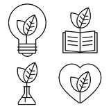 Ecology thin set. Stylish thin ecology icons of light bulb, book, test tube and heart Royalty Free Stock Images