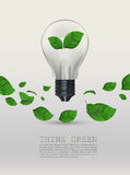 Ecology Think green bulb vector illustration. Stock Photos