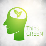 Ecology Think green head brain Royalty Free Stock Images