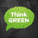 Ecology Think green speech bubble on dark background Royalty Free Stock Images