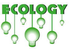 Ecology title with green bulbs Stock Image