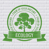 Ecology tree colored logo or template on a white Royalty Free Stock Photo