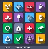 Ecology Vector Icons With Long Shadow Set 7 Stock Photography