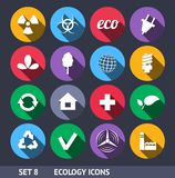 Ecology Vector Icons With Long Shadow Set 8 Royalty Free Stock Photography