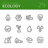 Ecology vector outline icon set Royalty Free Stock Photography