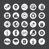 Ecology. Vector set of eco icons on gray background. Ecology. A set of twenty-five individual eco icons on gray background Stock Photography