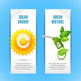 Ecology Vertical Banners In Paper Style. With solar energy and green bio fuel realistic compositions vector illustration Royalty Free Illustration