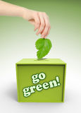 Ecology voting box with hand and leaf. On green background Stock Photography