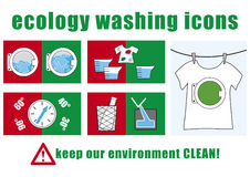 Ecology washing icons Royalty Free Stock Photography