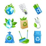 Ecology and waste icon set Stock Images