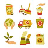 Ecology and Waste Icon Set Royalty Free Stock Image