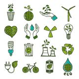 Ecology and waste icons set color Royalty Free Stock Photos