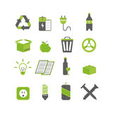 Ecology waste sorting and recycle icons vector illustration set. Stock Images