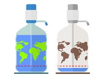 Ecology water catastrophic dehydration planet. World reserves of drinking water on the planet earth.Limited resources environmental water.Ecology design concept Stock Photos