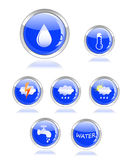 Ecology water and drop glossy icon button. On white background Stock Image