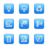 Ecology web icons blue buttons Stock Images