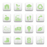 Ecology web icons. 16 Ecology icons, environment web buttons on white background stock illustration