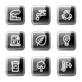 Ecology web icons, glossy buttons series Stock Photos