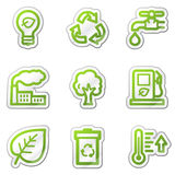 Ecology web icons, green contour sticker series stock images
