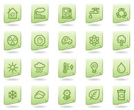 Ecology web icons, green document series. Vector web icons set. Easy to edit, scale and colorize