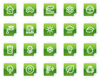 Ecology web icons, green sticker series. Vector web icons, green sticker series royalty free illustration
