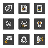 Ecology web icons, grey buttons series Royalty Free Stock Images